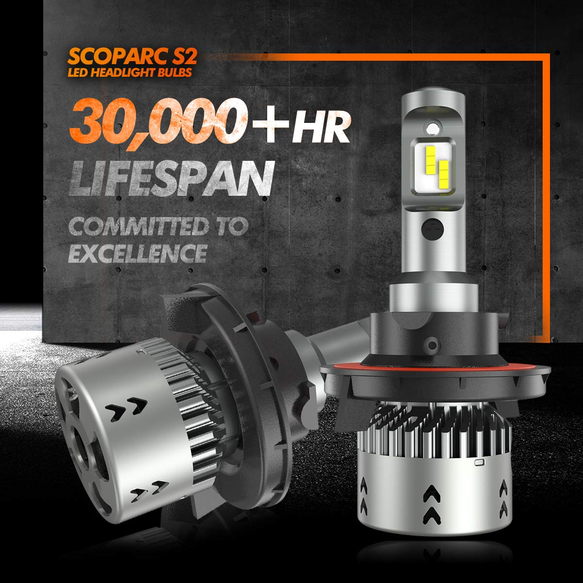 SEALIGHT Scoparc S2 H13//9008 LED Headlight Bulbs 6000K Bright White 1:1 Halogen Bulb Design H13 LED High Beam Low Beam
