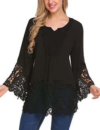 c73b9c2c015f3 SoTeer Womens Floral Cotton Lace Crochet Long Sleeve Tee Shirt Casual  Blouse Tops Black S