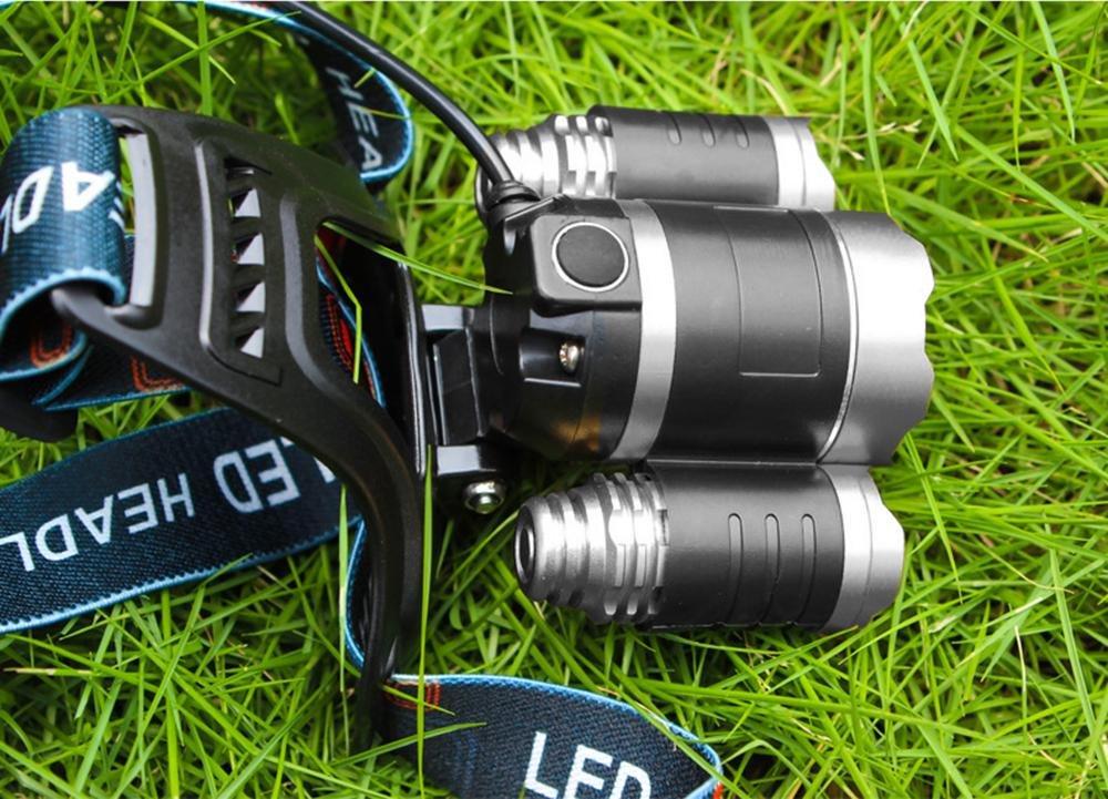 Kobwa Linterna Frontal Luz Blanca, 3 T6 Cuentas de la l/ámpara Plateado 6000 l/úmenes 4 Modos Impermeable Zoomable Ajustable Foco L/ámpara de Cabeza para Al Aire Libre C/ámping Ciclismo Caza Pescar