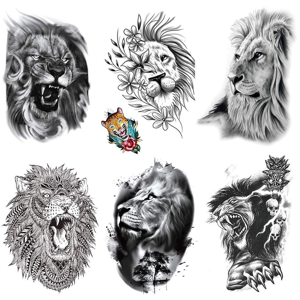 Yesallwas 6 Sheets Lion Temporary Tattoo Sticker Fake Tattoos Lion for women Men Models,waterproof Long Lasting Body Art Makeup Lion Half Arm Tattoos 5.9×8.26inche