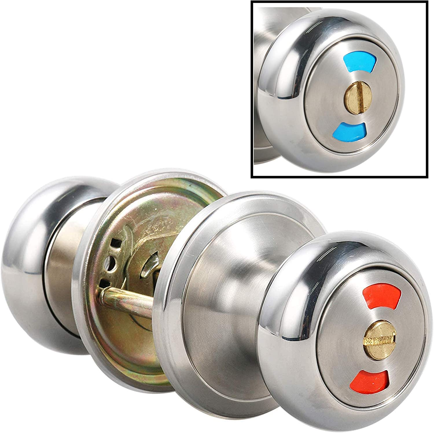 MUTEX Classic Privacy Indicator Door Knob with Dual Color Indication Single Cylinder Thumbturn Lock fits Standard Doors for Bathroom Office Home or Commercial Airbnb (1)