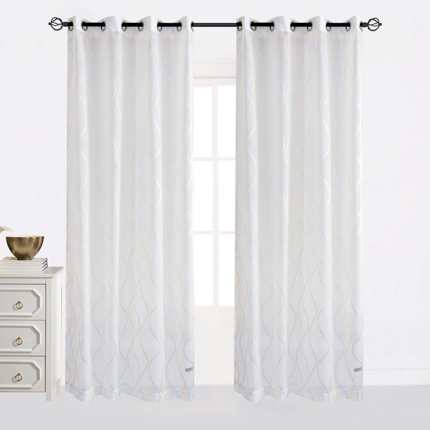 Cheery Home Wave Sheer Curtains Voile Panels Drapes Top Grommet for Living Room,Width 52 Inch by 84 Inch Length,Blue and Gold