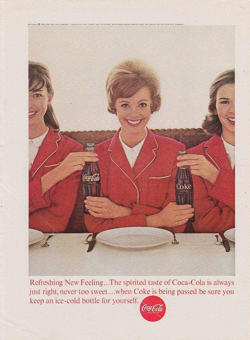 Always just right Coca-Cola ad 1963 3 girls in red uniforms