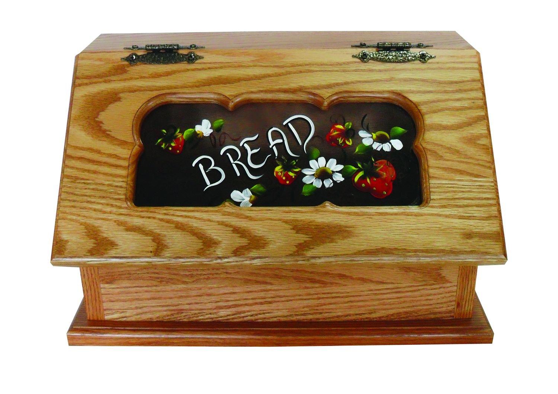 Solid Oak, Amish Made, Bread Box Strawberries Design 279bb