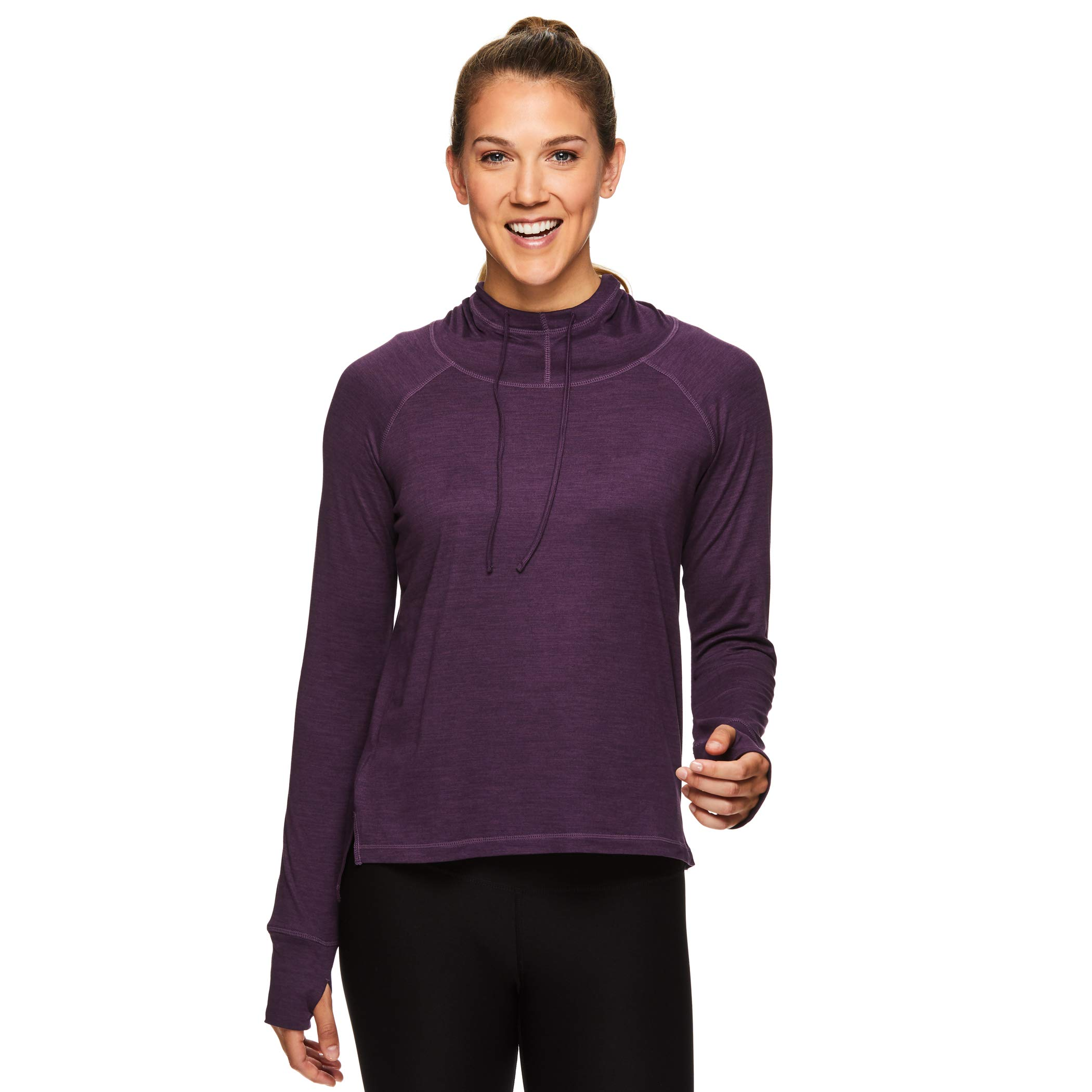 Gaiam Women's Pullover Hoodie Yoga Sweatshirt - Lightweight Long Sleeve Athleisure Sweater - Maya Navy Blue Cosmos Heather, Medium by Gaiam