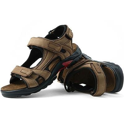 DADAWEN Men's Summer Leather Outdoor Beach Adjustable Strap Athletic Sport Sandals | Sport Sandals & Slides