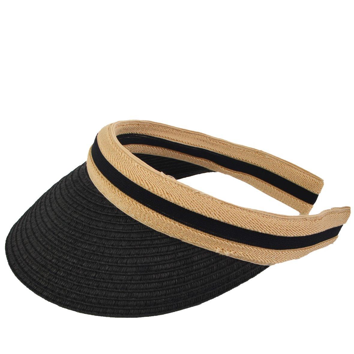 3d390680be0 Women Golf Sports Visor - Sun Hat Beach Straw Summer Visors Cap (Black)   Amazon.co.uk  Clothing