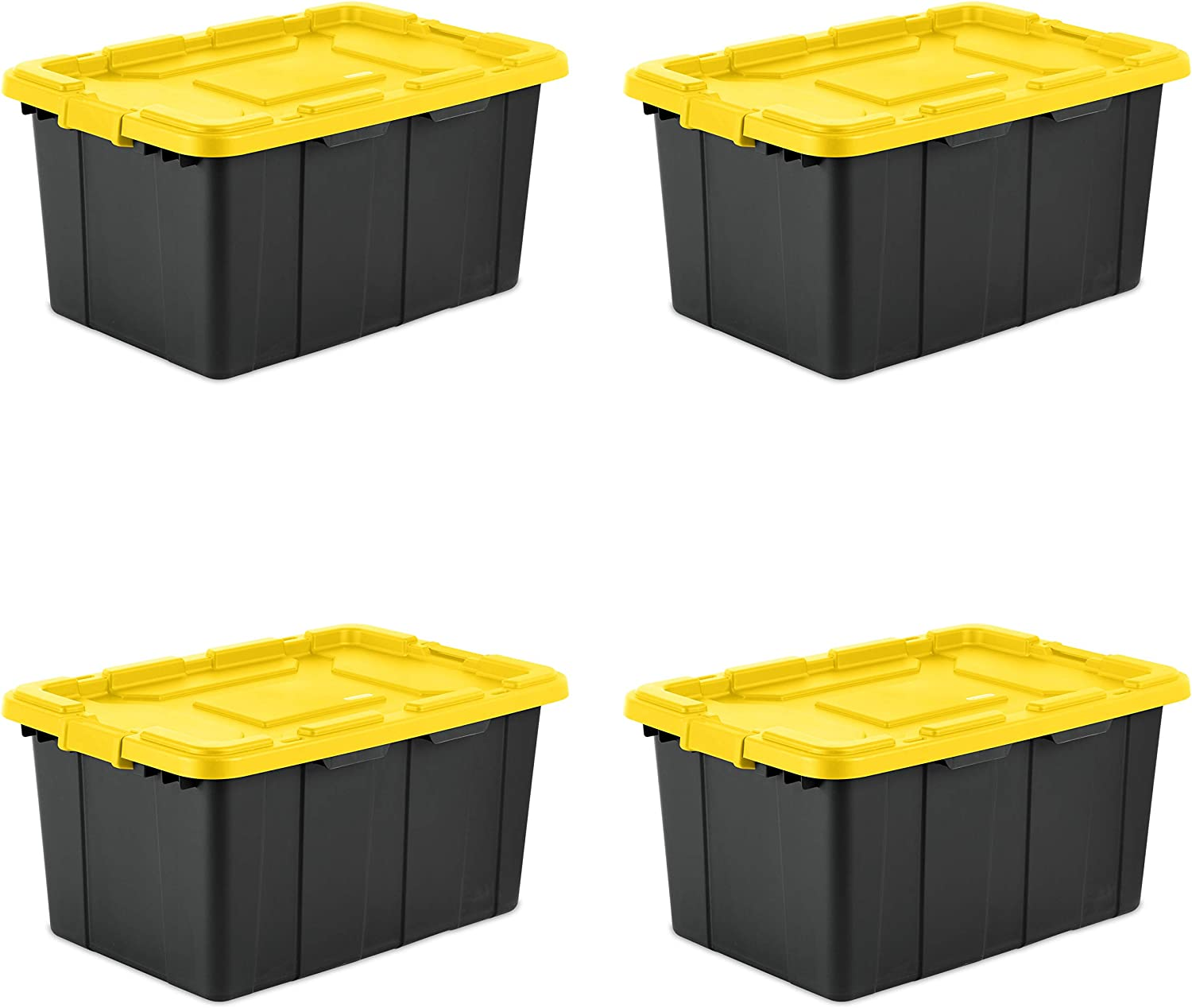 Sterilite 14669Y04 27 Gallon Liter Industrial Tote, Large, Yellow Lily lid with Black Base