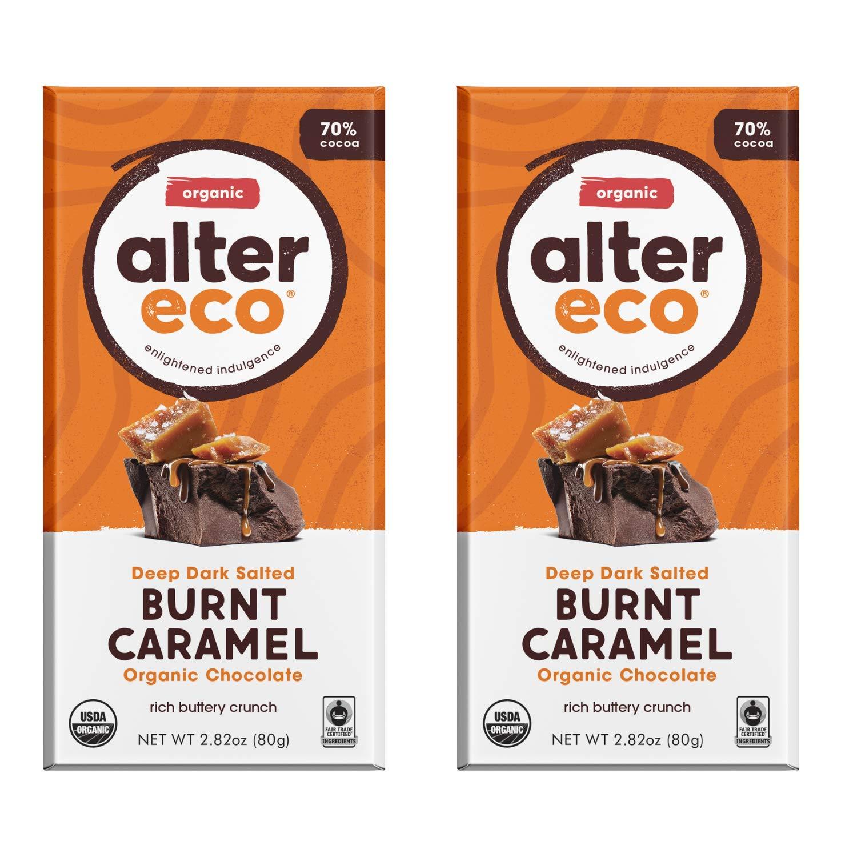 Alter Eco | Dark Salted Burnt Caramel | 70% Pure Dark Cocoa, Fair Trade, Organic, Non-GMO, Gluten Free Dark Chocolate Bar, 2 Bars