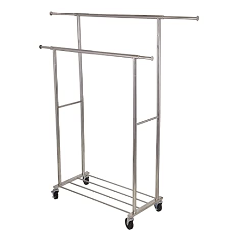Superieur Household Essentials Double Garment Rack, Stainless Steel