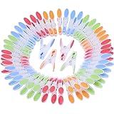 Mollette da Bucato in Plastica 72 Pezzi - Asciugatura Abiti Grandi Mollette Extra Resistenti Antivento Antiscivolo Impugnatura Morbida Ergonomica Antiruggine Colorate Mollette Interno e Esterno