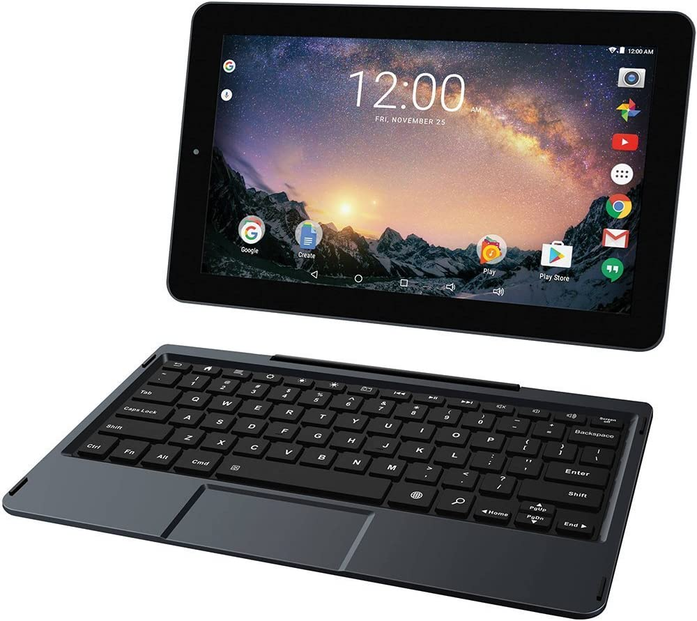 "2018 RCA Galileo Pro High Performance 2-in-1 11.5"" Touchscreen Tablet PC, Intel Quad-Core Processor 32GB SSD 1GB RAM Webcam WiFi Bluetooth Detachable Keyboard Android 6.0, Black"