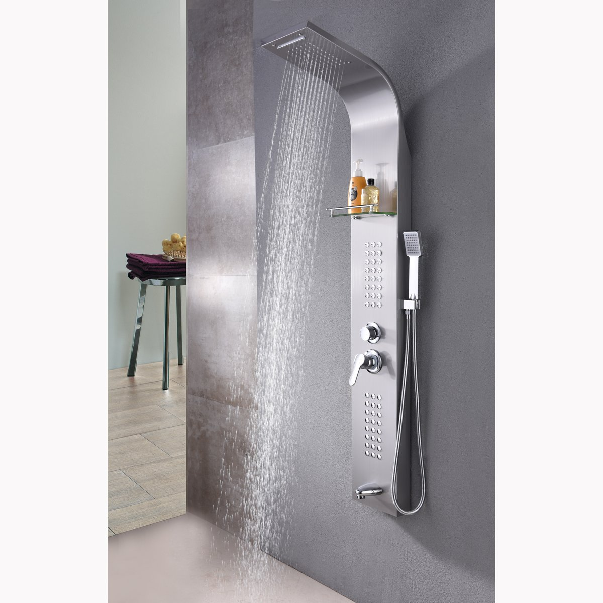 oofay shower faucet set stainless steel brushed nickel bathroom shower tower panel system with rainfall head waterfall shower handhel shower - Shower Tower