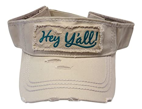 ec8b8b4c Embroidered Hey Y'all Frayed Patch Vintage Style Cotton Visor Fashion ( Washed Stone/