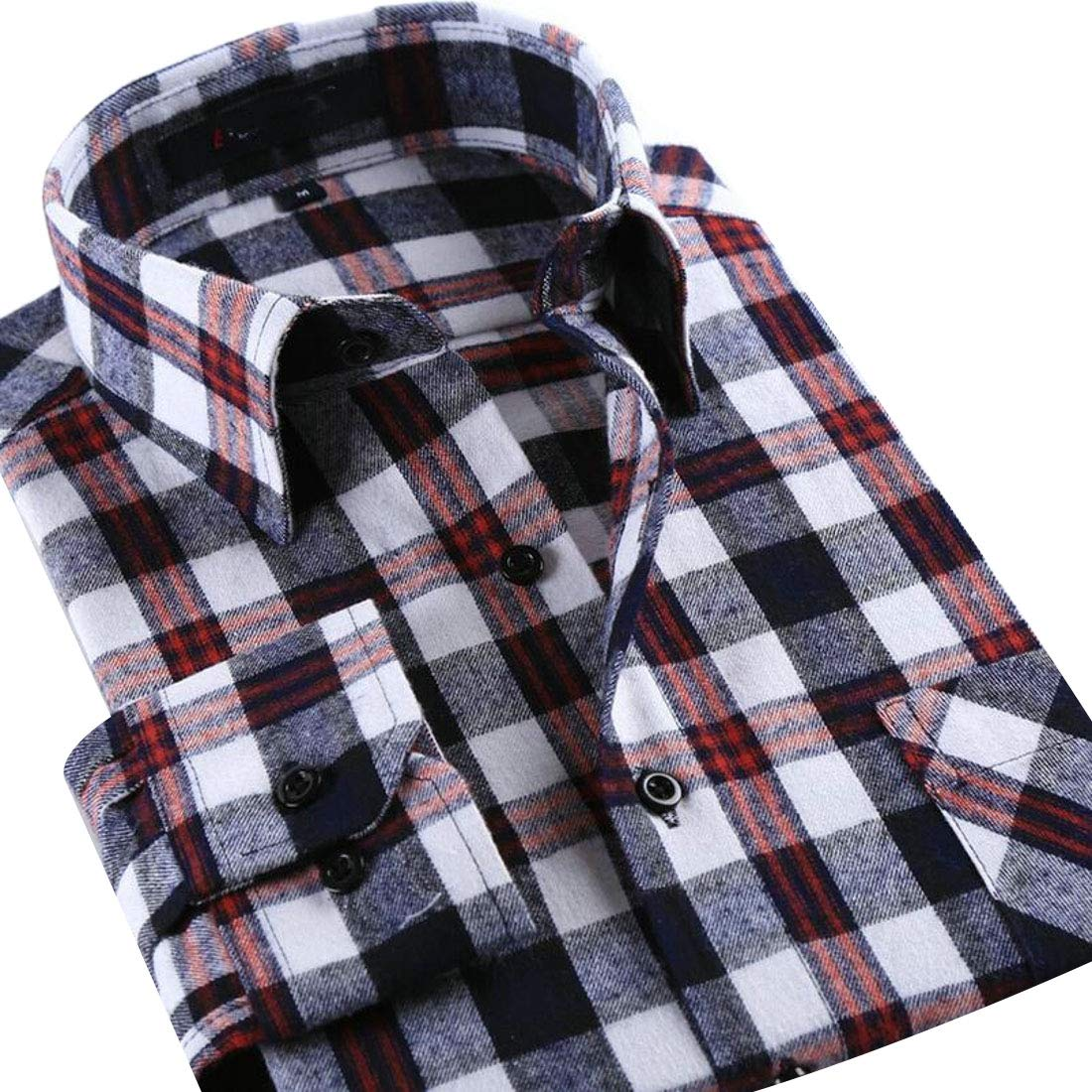 UNINUKOO Unko Mens Button Down Cotton Casual Long Sleeve Slim Checkered Dress Shirt