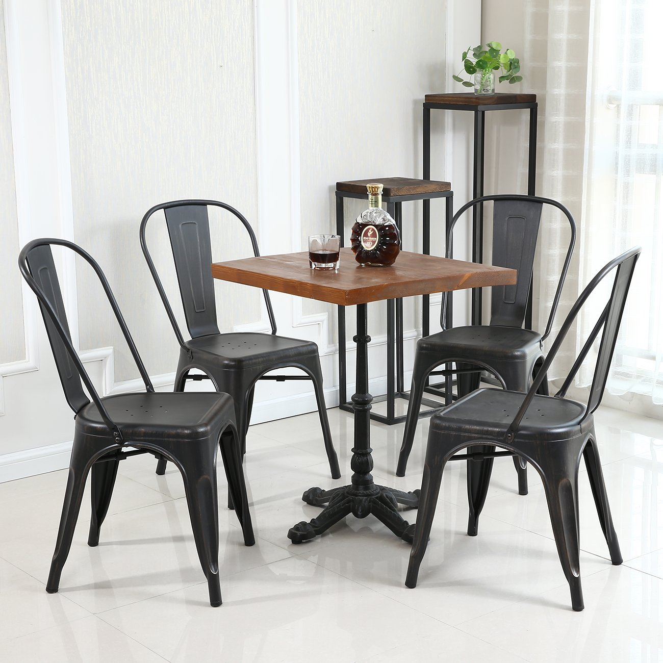 Amazoncom Belleze Set of 4 Metal Chairs Side Dining Steel High