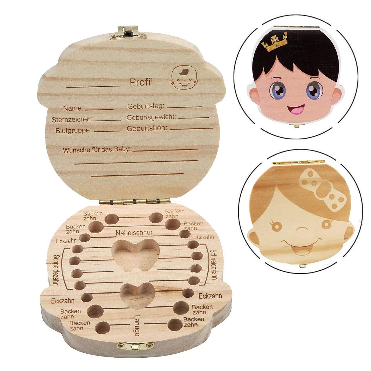 Organisateur de boîte à dents - INTVN 2 Pièces Dent Boîtes en Bois Les dents de lait de bébé sauvent Coffret de rangement en bois pour Enfants garçon et Fille Version anglaise Cadeau de Naissance