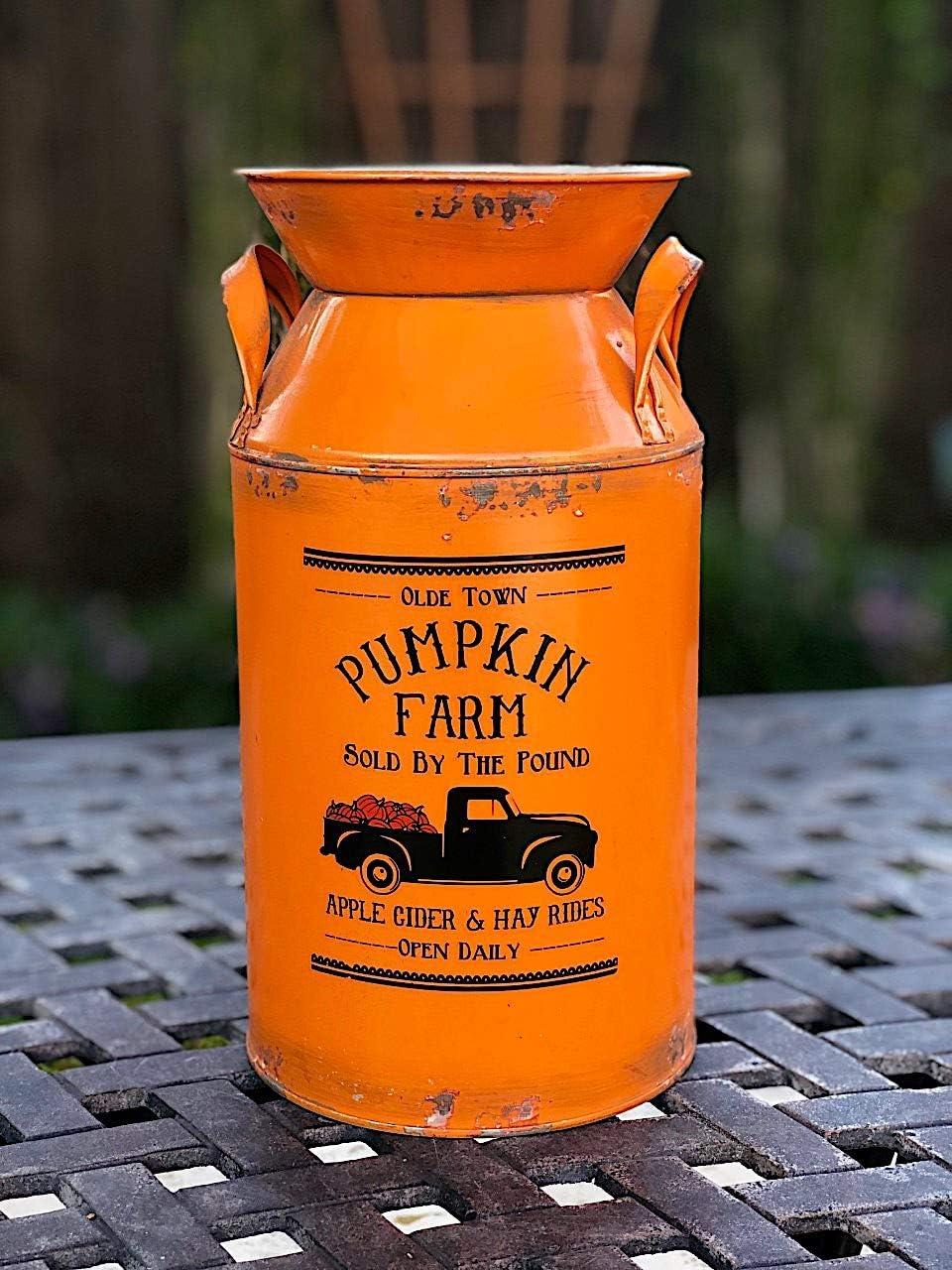 DNS Pumpkin Farm Milk Can Water Jug Vase Planter Vintage Rustic Galvanized Metal Seasonal Fall Thanksgiving Accessory Orange 9.5 x 5