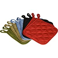 American Linen (Ten) 10 Pack Pot Holders 6.5 Square Solid Color Everyday Quality Kitchen Cooking Chef Linens (Multi…