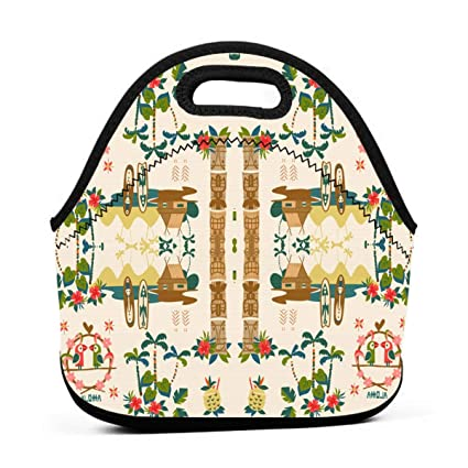a915a1f322c YAIC ULI Tiki Resort Portable Carry Insulated Lunch Bag - Large Reusable  Lunch Tote Bags for