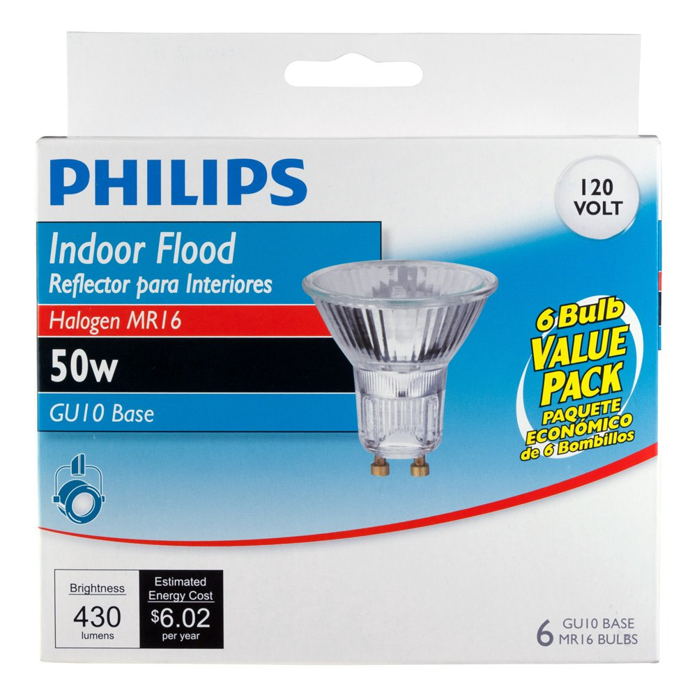 Philips 415760 Indoor Flood 50-Watt MR16 GU10 Base 120-Volt Light ...
