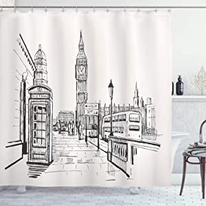 Ambesonne Modern Shower Curtain, London City with Big Ben Monument Scene in Sketch Style British Famous Town Artwork, Cloth Fabric Bathroom Decor Set with Hooks, 75