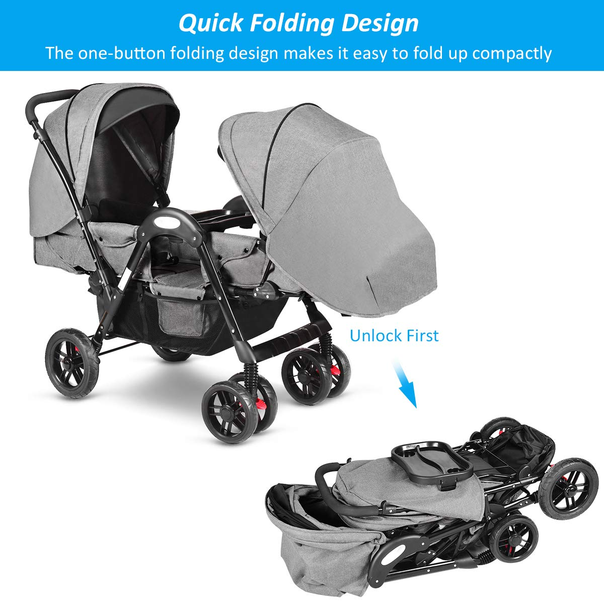 Costzon Double Stroller, Baby Face to Face Carriage with Sleep/Sit/Recline Seat, 5-Point Safety Harness, Detachable Food Tray, Large Storage Space, Gray by Costzon (Image #8)