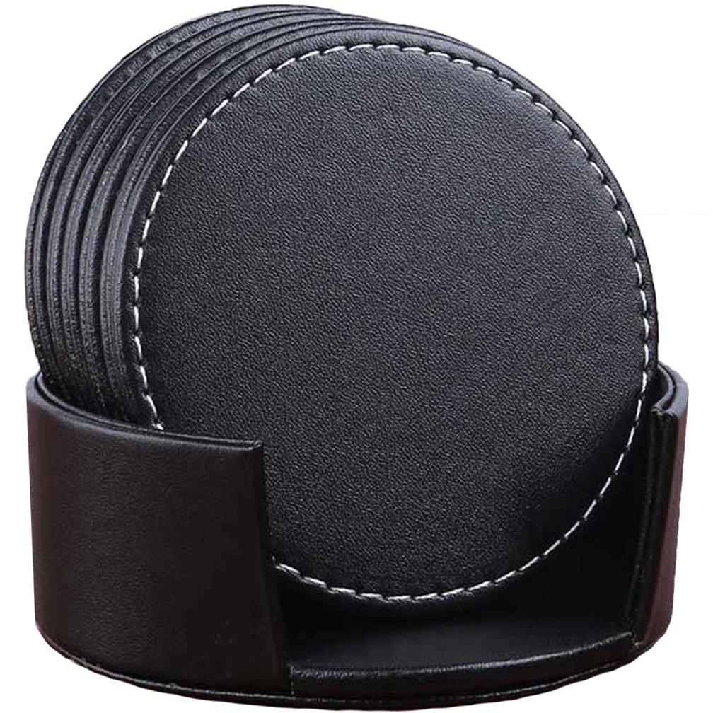 "CARLWAY Set of 6 Leather Drink Coasters Round Cup Mat Pad for Home and Kitchen Use Black, 3.94"" 10cm"