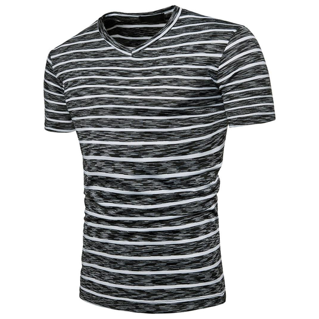 c74affc0c WM & MW Basic Tee Shirts, Boy Men's Short Sleeve Summer Casual V-Neck  Striped T-Shirt Pullover Tops at Amazon Men's Clothing store: