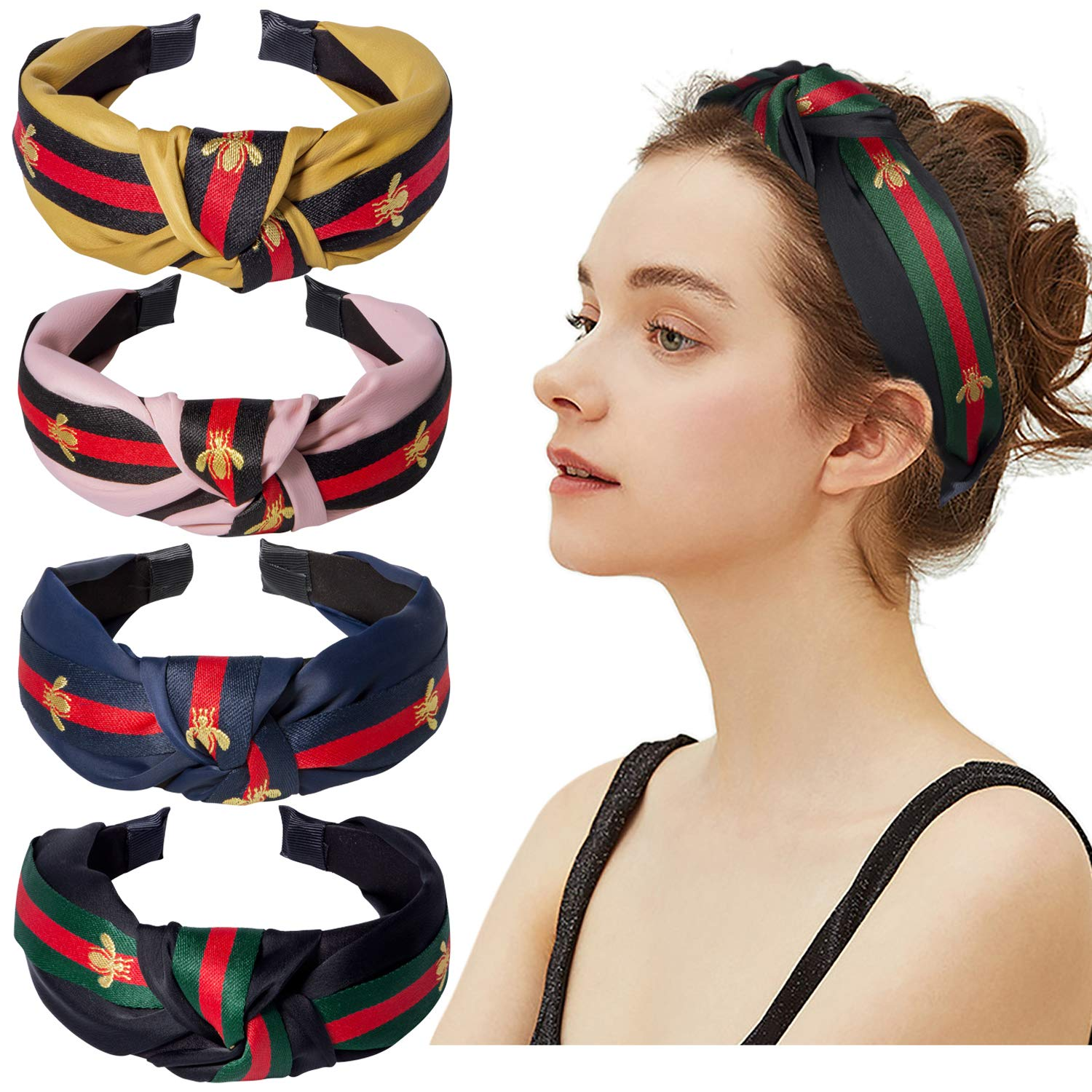 Cute Knot Headbands for Women - 4 Pack Hair Hoops Wide Stripe Headband with Bee Animal, Cross Knot Hair Band with Cloth Wrapped by Amandir