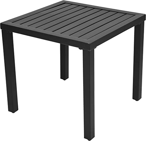 EMERIT Outdoor Metal Square Patio Bistro Side End Table,Black