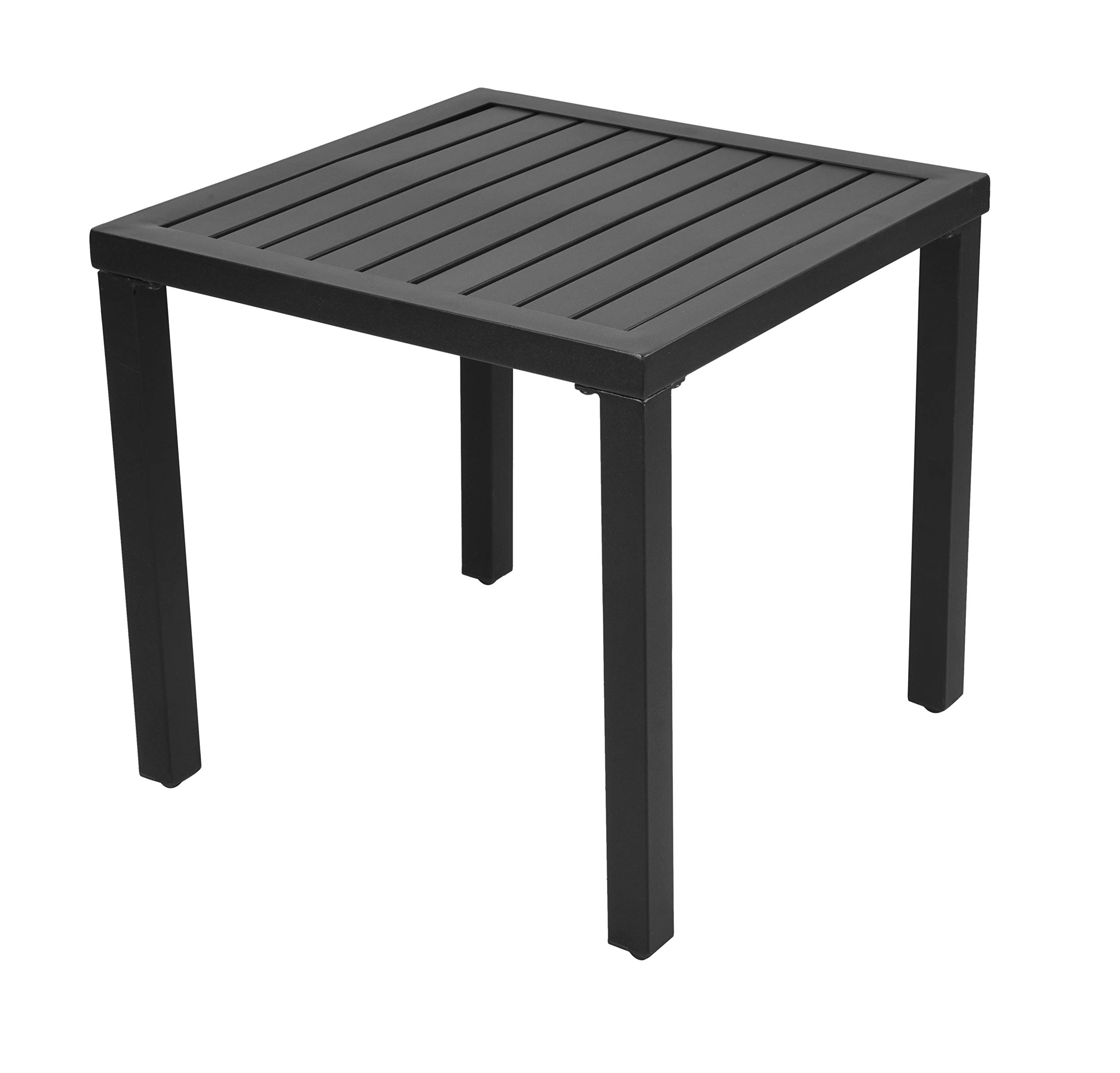 EMERIT Outdoor Metal Square Patio Bistro Side End Table,Black