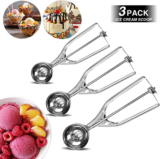 Cupcake Ice Cream Meatball Muffin Stainless Steel Cookie Scoops with Trigger Release,Include Large-Medium-Small Sizes Balls for Perfect for Cookie Besmon Cookie Scoop Set