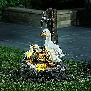 Resin Duck Water Fountain Statue - Animal Garden Statue with Solar Led Lights, Solar Powered Garden Lights, Patio Fountain Outdoor Landscape Garden Art (1pc)