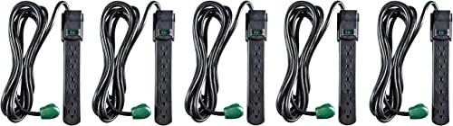 Go Green Power GG-16106MSBK 6 Outlet Surge Protector, Black Five Pack
