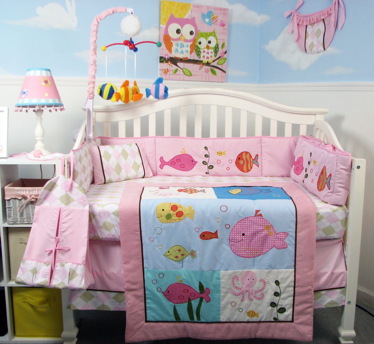 SoHo Pink Gold Fish Aquarium Baby Crib Bedding Set 13 pcs included Diaper Bag with Changing Pad & Bottle Case by SoHo Designs   B00E9CG2AM