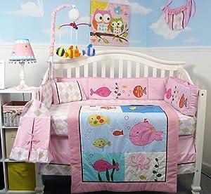 SoHo Baby Crib Bedding 10Pc Set, Pink Fish