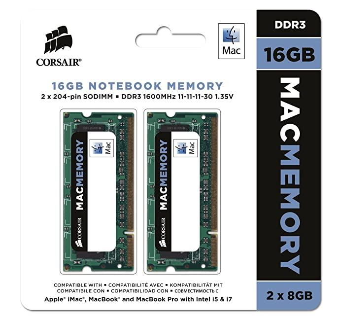 Corsair 美商海盗船 苹果认证MAC笔记本内存条 2x8GB DDR3 1600MHz 4.7折$64.99 海淘转运到手¥463