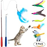 [8 in 1] Jouet de Chat, Interactive Retractable Natural Feather Wand Cat Toy, Wineecy 2 rétractable Baguette avec 6 plumes pour votre chat et chaton – Jouet pour Chat interactif Cat Wand (2 wand)