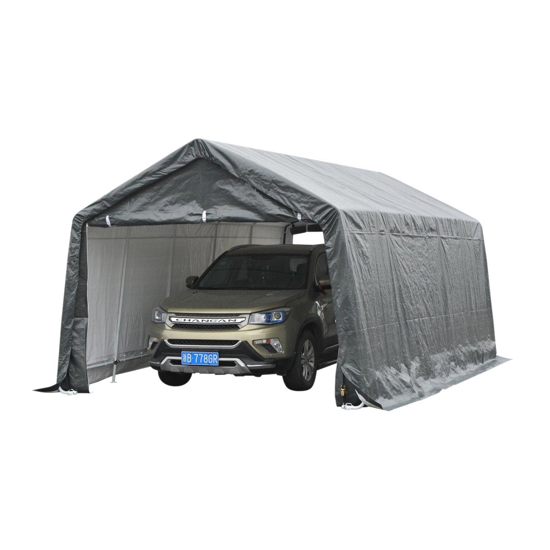 Festnight Heavy Duty Enclosed Carport Car Canopy Grey 20' x 12'