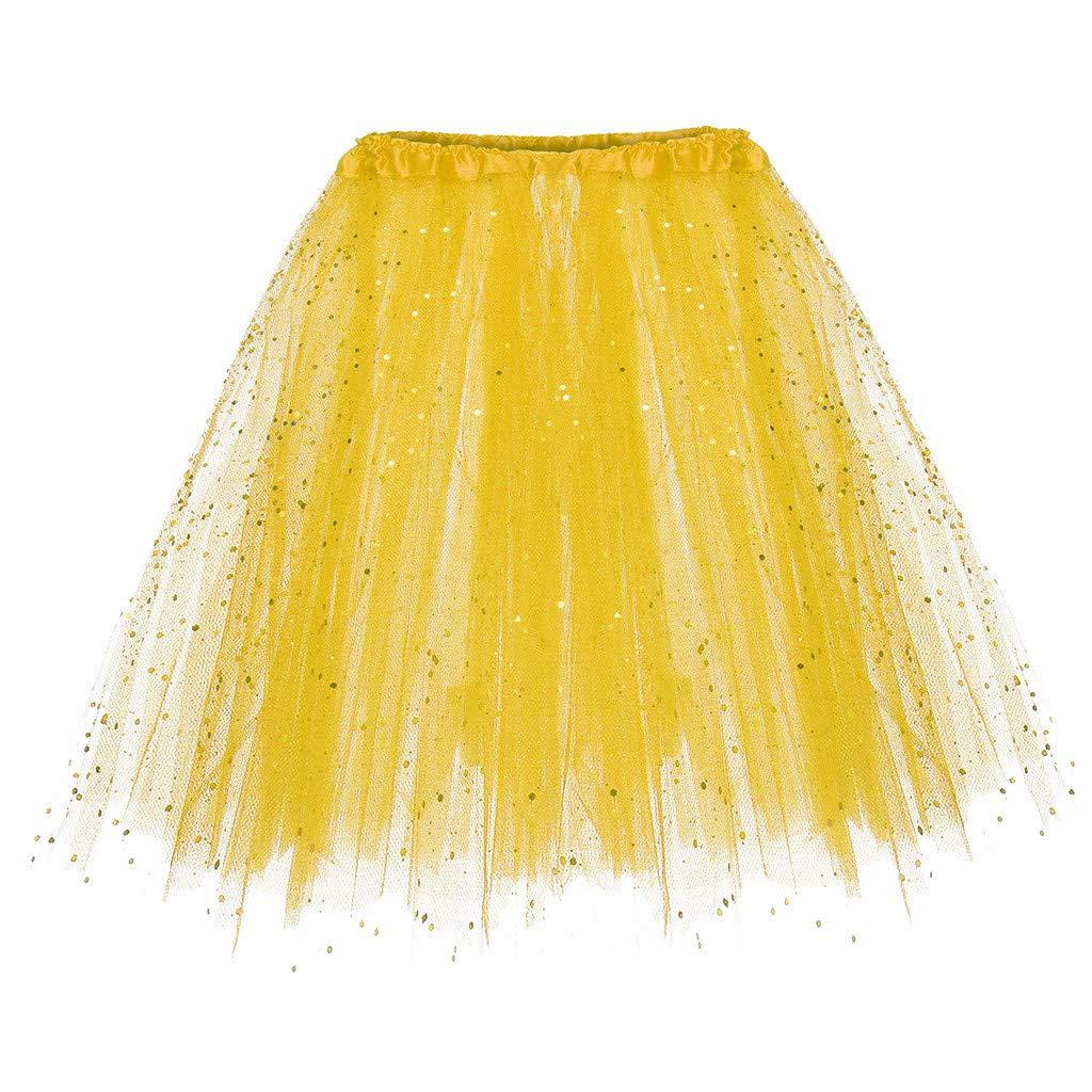 Huazi2 Women Paillette Elastic 3 Layered Short Skirt Adult Tutu Dancing Skirt Yellow