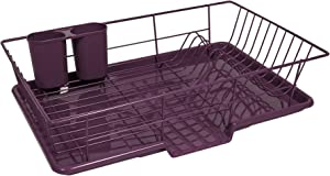 "Sweet Home Collection 3 Piece Dish Drainer Rack Set with Drying Board and Utensil Holder, 12"" x 19"" x 5"", Eggplant"