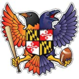 Birdland Baltimore Raven and Oriole Maryland Crest 4.85x4.75 inches sticker decal die cut vinyl - Made in USA