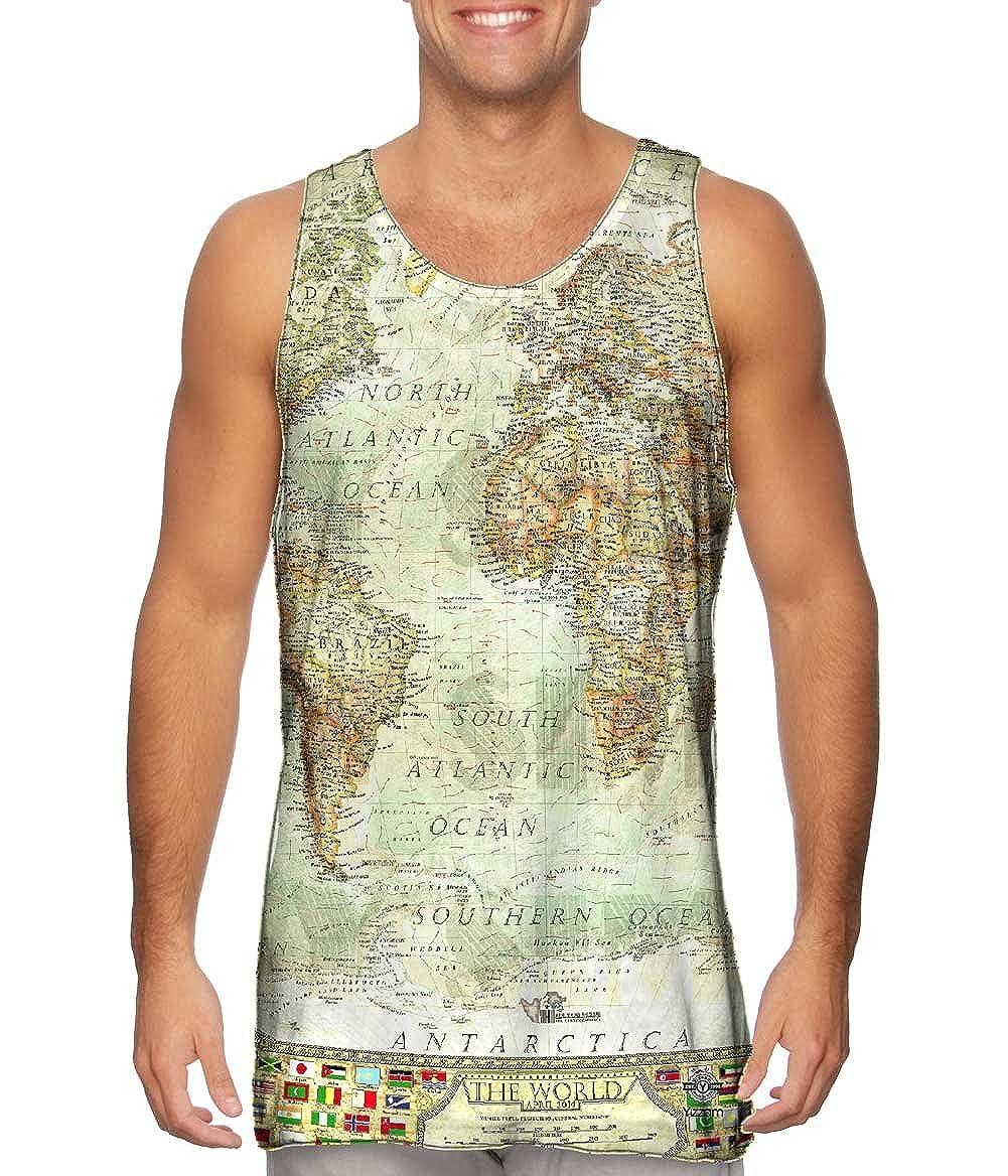 Tshirt Ash World Map Mens Tank Top Yizzam-