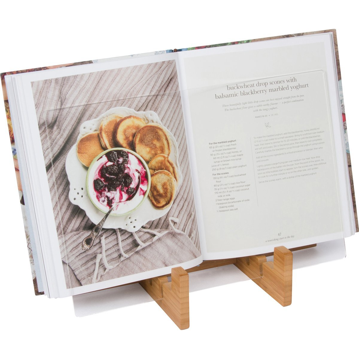 KitchenWarePlus Recipe Book Holder - Bamboo Cookbook Stand for iPad or Tablet for the Kitchen with Protective Splash Guard. Easy Clean Book Stand. by Kitchenware Plus