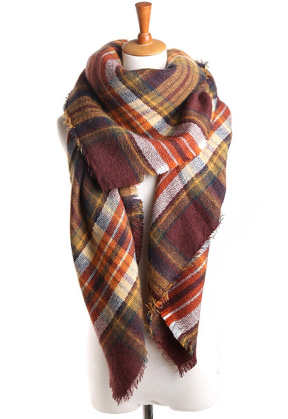 Women's Winter Soft Plaid Tartan Checked Scarf Large Blanket Wrap Shawl