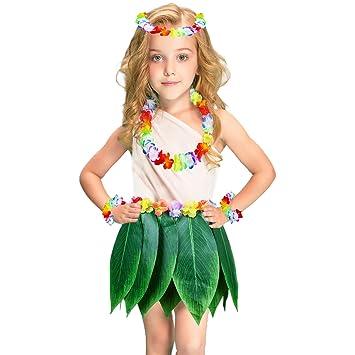 c3e65bd8a390 Ti Leaf Hula Skirt Hawaiian Luau Green Grass Skirt with Flower Leaf Leis, Necklaces Bracelets