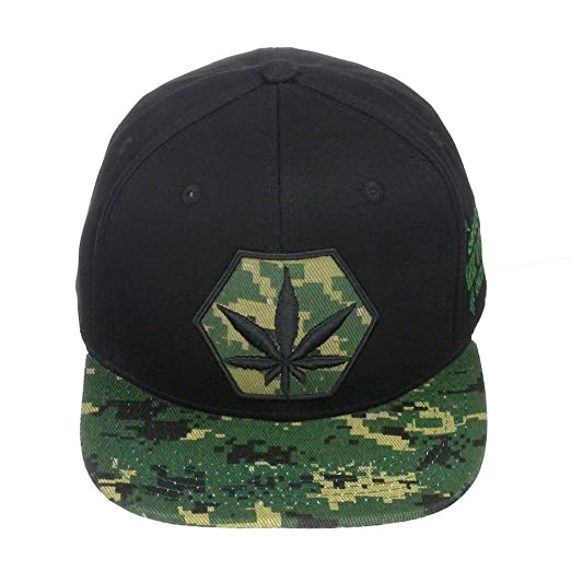1ef04e24083 Top Level Marijuana Kush Pot Leaf Weed Cannabis Embroidered Flat Bill Snapback  Cap Hat Black Green Camo at Amazon Men s Clothing store