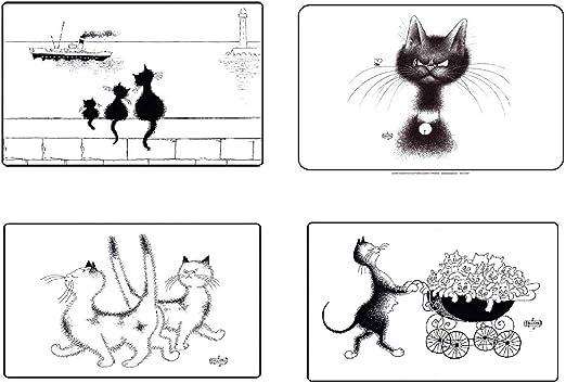 Editions Clouet – Juego de 4 manteles Individuales de Mesa con diseño de Gato (Mosca, 3 Gatos, Paseo en Cochecito, pimbrisa), Color Negro y Blanco – 45 x 30 cm: Amazon.es: Hogar