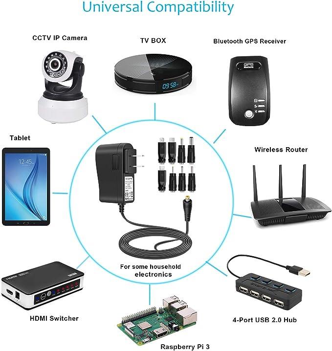 Aisilk - Adaptador de CA y CC 5 V, 1 A, 2 A, 2,5 A, 3 A, cargador ...